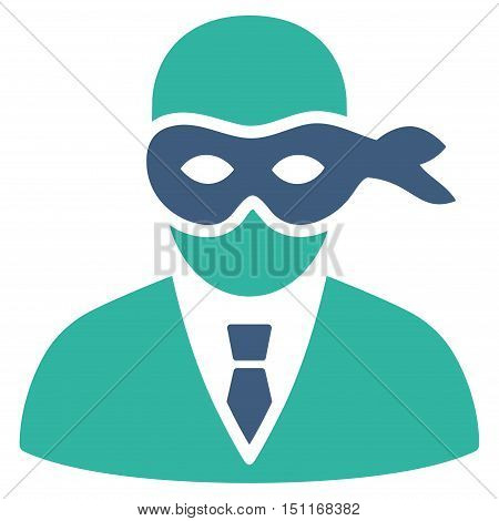 Masked Thief icon. Glyph style is bicolor flat iconic symbol with rounded angles, cobalt and cyan colors, white background.