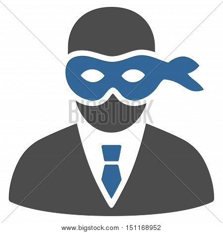 Masked Thief icon. Glyph style is bicolor flat iconic symbol with rounded angles, cobalt and gray colors, white background.