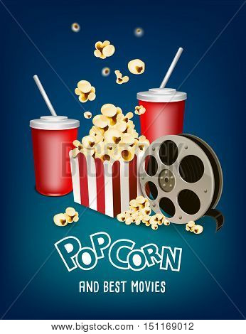 pop corn and cinema strip poster design