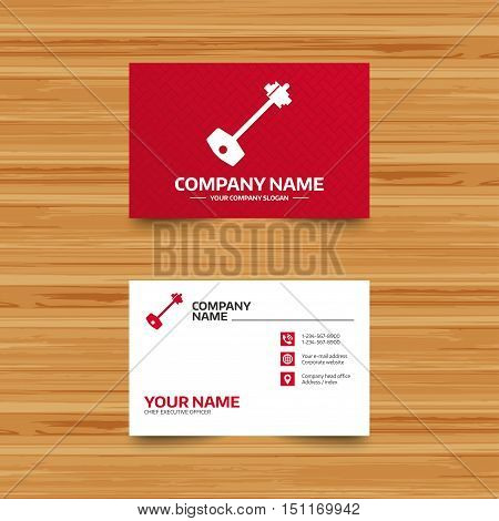 Business card template. Key sign icon. Unlock tool symbol. Phone, globe and pointer icons. Visiting card design. Vector