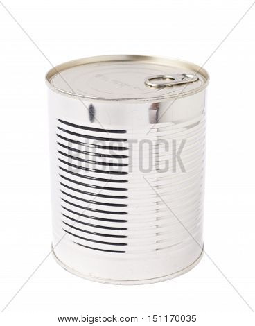 Closed metal can isolated over white background