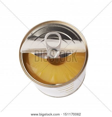 Canned pineapple in metal can isolated over white background