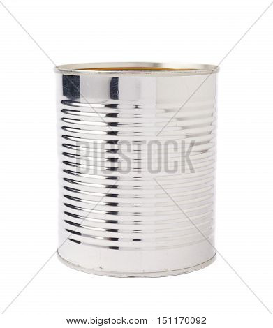 Opened metal can isolated over white background