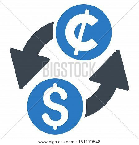 Dollar Cent Exchange icon. Glyph style is bicolor flat iconic symbol with rounded angles smooth blue colors white background.