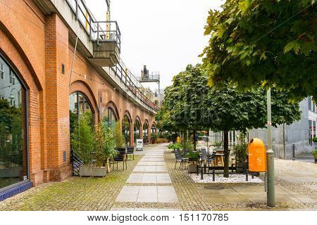 BERLIN, GERMANY- October 7: Typical Street view October 7, 2016 in Berlin, Germany. Berlin is the capital of Germany. With a population of approximately 3.5 million people.BERLIN, GERMANY