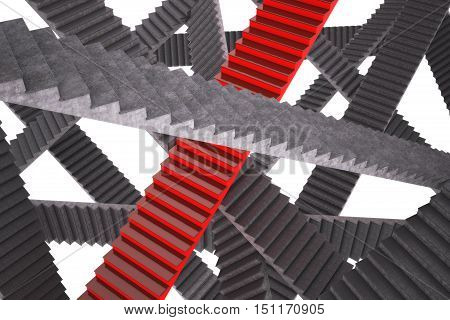 Abstract illustration. Red and gray ladder. 3d illustration