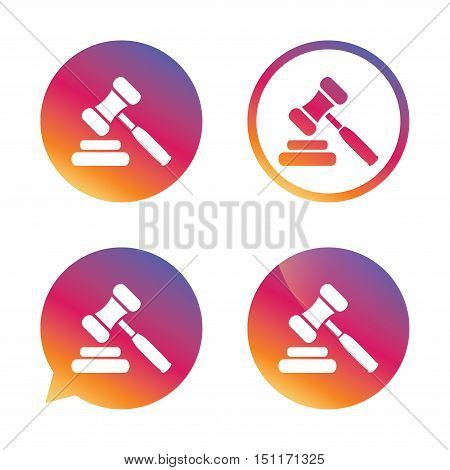 Auction hammer icon. Law judge gavel symbol. Gradient buttons with flat icon. Speech bubble sign. Vector