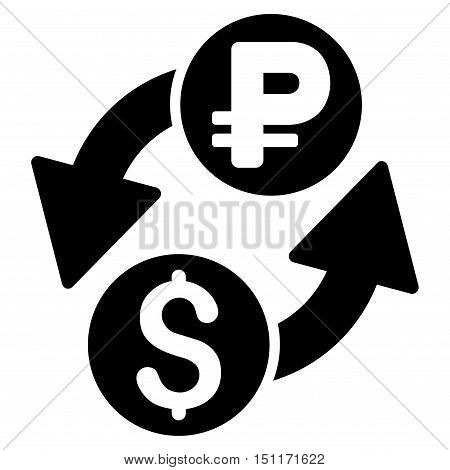 Dollar Rouble Exchange icon. Glyph style is flat iconic symbol with rounded angles, black color, white background.