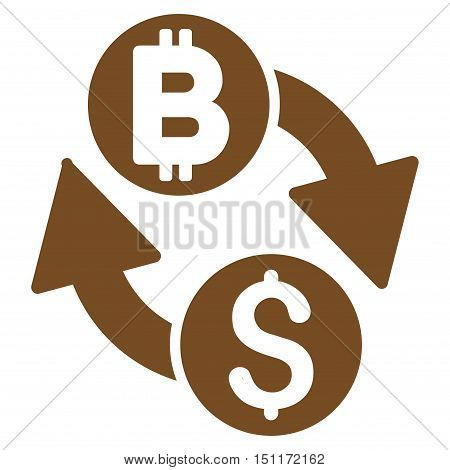 Dollar Bitcoin Exchange icon. Glyph style is flat iconic symbol with rounded angles, brown color, white background.