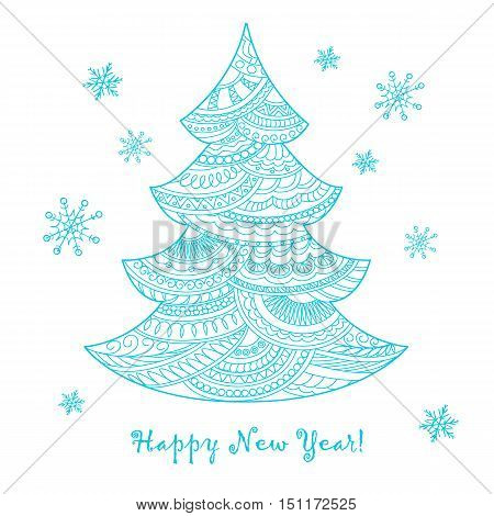 Festive card with blue Christmas tree decorated hand drawn doodle tangled shapes and snowflake isolated on the white and text Happy New Year. Image can be used for adult coloring book. eps 10