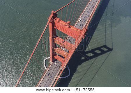 Aerial down view of the Golden Gate Bridge near San Francisco, California.