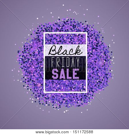 Big Black Friday Sale. Purple glitter. Sparkles on purple background. Glowing elements. Banner. Vector illustration eps10