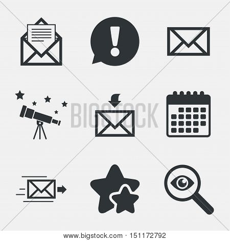 Mail envelope icons. Message document delivery symbol. Post office letter signs. Inbox and outbox message icons. Attention, investigate and stars icons. Telescope and calendar signs. Vector