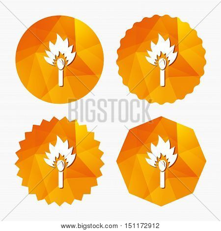 Match stick burns icon. Burning matchstick sign. Fire symbol. Triangular low poly buttons with flat icon. Vector