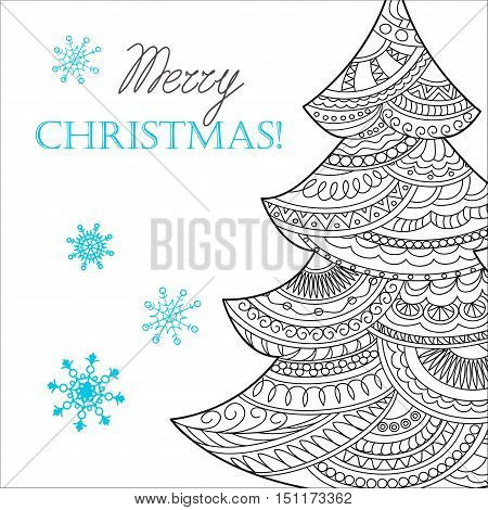 Festive card with Christmas tree decorated hand drawn doodle tangled shapes and snowflake isolated on the white and text Merry Christmas. Image can be used for adult coloring book. eps 10