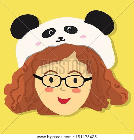 Face of a curly and glasses girl with panda hat on yellow background.