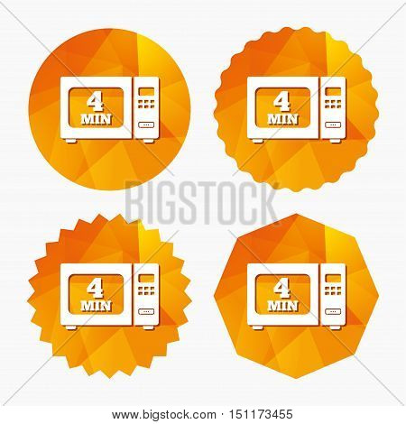 Cook in microwave oven sign icon. Heat 4 minutes. Kitchen electric stove symbol. Triangular low poly buttons with flat icon. Vector