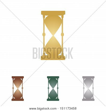 Hourglass Sign Illustration. Metal Icons On White Backgound.