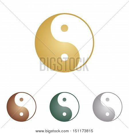 Ying Yang Symbol Of Harmony And Balance. Metal Icons On White Backgound.