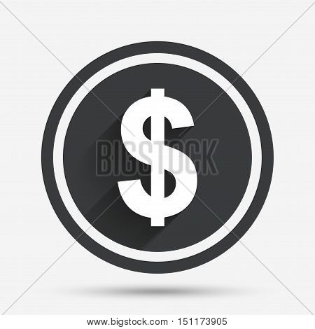 Dollars sign icon. USD currency symbol. Money label. Circle flat button with shadow and border. Vector