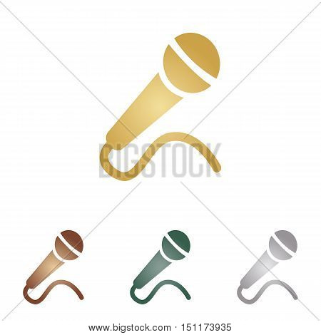 Microphone Sign Illustration. Metal Icons On White Backgound.
