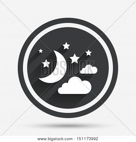 Moon, clouds and stars icon. Sleep dreams symbol. Night or bed time sign. Circle flat button with shadow and border. Vector
