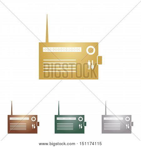 Radio Sign Illustration. Metal Icons On White Backgound.