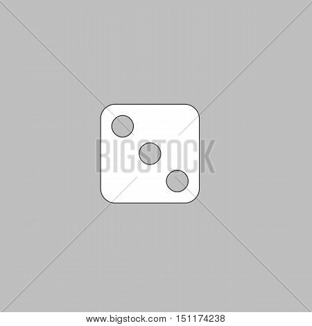 dice 3 Simple line vector button. Thin line illustration icon. White outline symbol on grey background