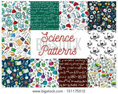 Science seamless patterns. Vector pattern of atom, formula, microscope, telescope, dna, chemicals, substance, gene molecule globe proton magnet calculator heart syringe