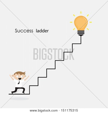 Businessman and light bulb with ladder sign.Ladder to success concept with idea light bulb icon.Creative idea and leadership concept.Business competition icon.Vector illustration