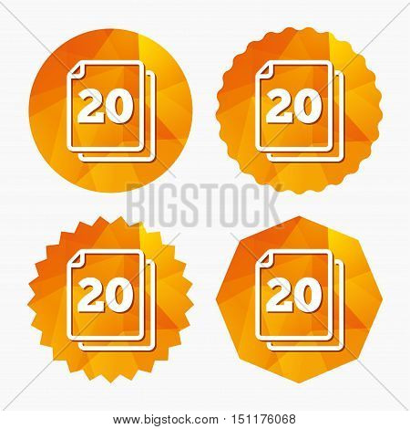 In pack 20 sheets sign icon. 20 papers symbol. Triangular low poly buttons with flat icon. Vector