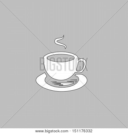 Hot coffe Simple line vector button. Thin line illustration icon. White outline symbol on grey background