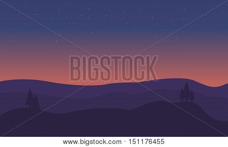 Silhouette of hill scenery at sunset vetcor illustration