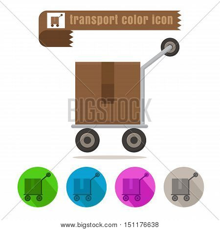 icon transport parcel colorful design vector on white background