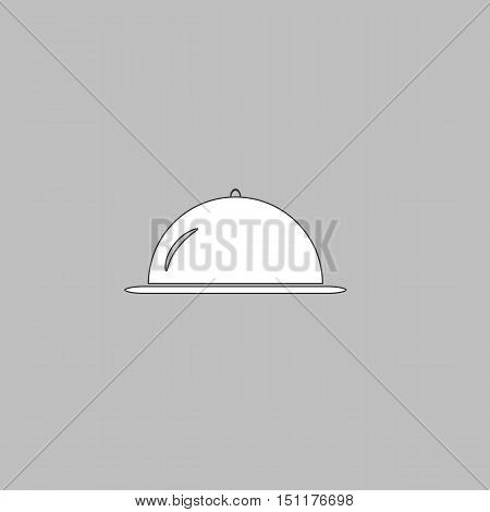 cloche Simple line vector button. Thin line illustration icon. White outline symbol on grey background