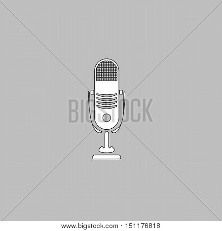 music microphone Simple line vector button. Thin line illustration icon. White outline symbol on grey background