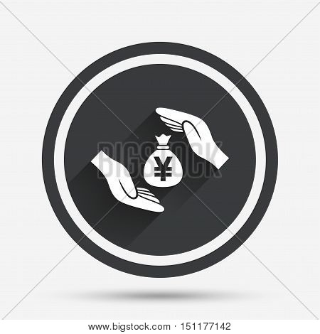 Protection money bag sign icon. Hands protect cash in Yen symbol. Money or savings insurance. Circle flat button with shadow and border. Vector