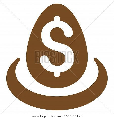 Dollar Deposit Egg icon. Glyph style is flat iconic symbol with rounded angles, brown color, white background.