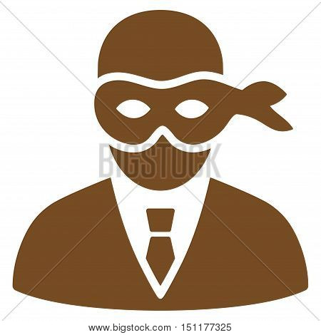 Masked Thief icon. Glyph style is flat iconic symbol with rounded angles, brown color, white background.