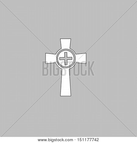 Tombstone Simple line vector button. Thin line illustration icon. White outline symbol on grey background