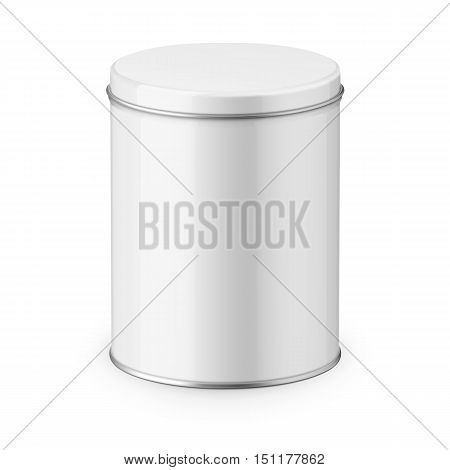 Round white glossy tin can with lid. Container for dry products - tea, coffee, sugar, cereals, candy, spice. Realistic packaging vector mockup template. Eye-level shot.