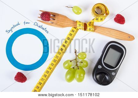 Glucometer, Symbol Of World Diabetes Day, Fresh Fruits With Centimeter
