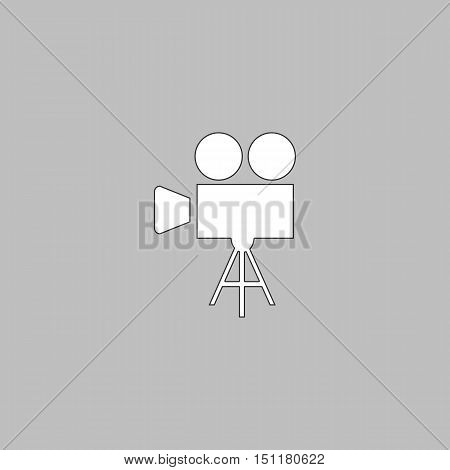 camcorder Simple line vector button. Thin line illustration icon. White outline symbol on grey background