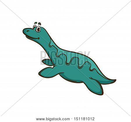 Dinosaur cartoon cute monster. Animal and prehistoric. Cartoon style. Isolated on white. Vector Illustration.