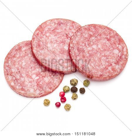 Salami smoked sausage three slices and peppercorns isolated on white background cutout