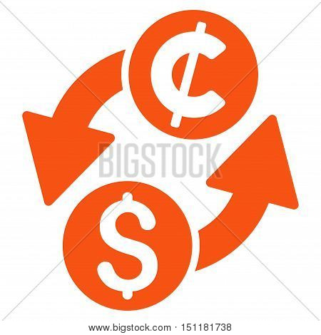 Dollar Cent Exchange icon. Glyph style is flat iconic symbol with rounded angles, orange color, white background.