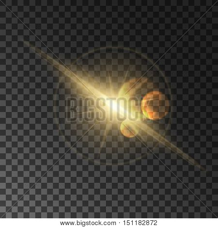 Light flash with lens flare effect. Star shine in sky. Cosmic starlight beam on transparent background