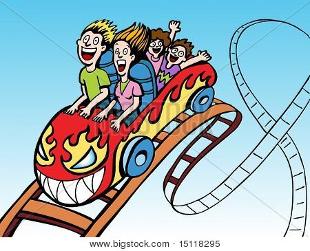 Family Riding Roller coaster