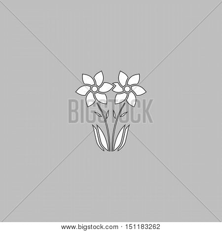 Flower Simple line vector button. Thin line illustration icon. White outline symbol on grey background