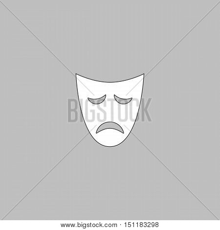 tragedy mask Simple line vector button. Thin line illustration icon. White outline symbol on grey background